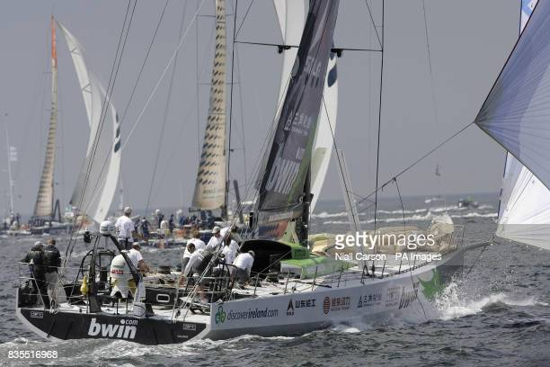 The crew of the Green Dragon in action during the inport race in Galway Bay as part of the Volvo Ocean Race