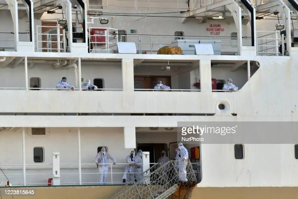 The crew of the KM Labobar Passenger Ship used personal protective equipment while anchored at the Port of Pantoloan, Palu, Central Sulawesi...
