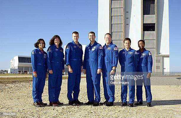 The crew of the NASA Space Shuttle mission STS107 mission specialists Kalpana Chawla and Laurel Clark pilot William Willie McCool commander Rick...