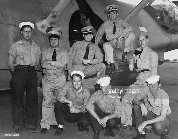 The crew of the Pacific Fleet patrol seaplane which first sighted the Japanese fleet approaching Midway