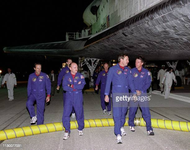 The crew of the Space Shuttle Discovery Mission Specialist Frenchman JeanFrancois Clervoy Mission Specialist Steve Smith Pilot Scott Kelly Mission...