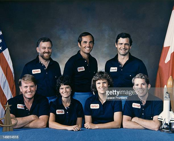 The crew of the STS41G NASA mission USA 1984 The astronauts are Robert L Crippen Kathryn D Sullivan David C Leestma Sally Ride Jon A McBride Marc...