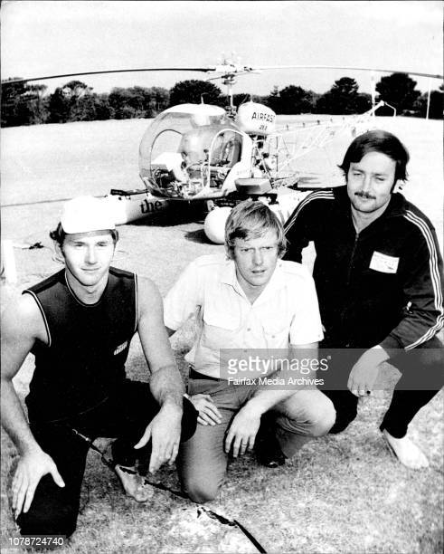 The Crew of the Surf Rescue helicopter Paul Langley of Seaforth Alan Edwards of Engadine and Peter MacCormick 29 of Mosman Pic taken at the base at...
