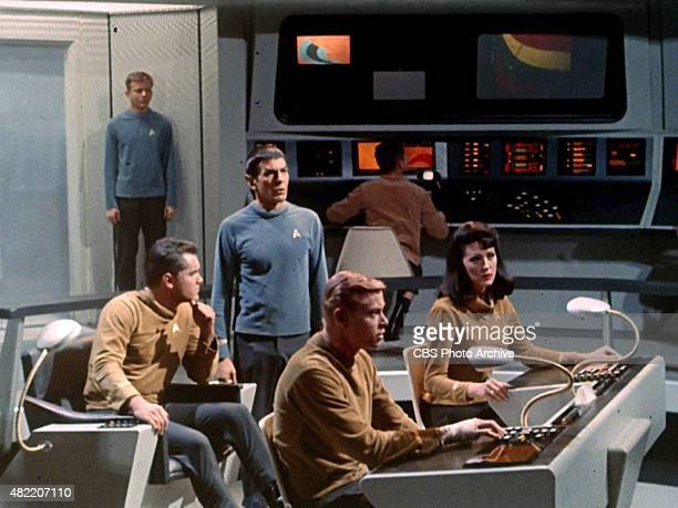 The crew on the bridge of the USS Enterprise in the STAR TREK The Original Series episode The Cage From left Jeffrey Hunter as Captain Christopher...