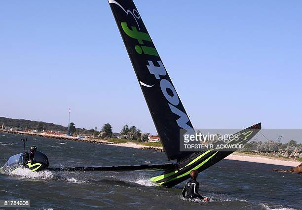 The crew starts to lose control of the stateoftheart carbon fibre fixed wing 'WotRocket' in Botany Bay as gale force winds lash Sydney on July 1 2008...