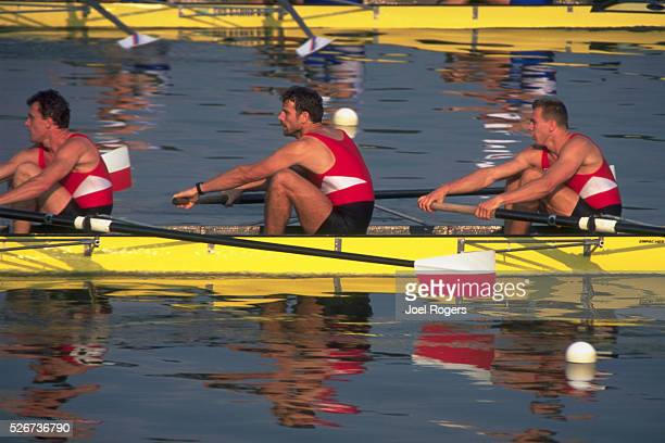 The crew team for the Poland rowing on Eagle Creek at the 1994 World Championship of Rowing event Indianapolis Indiana | Location Eagle Creek Park...