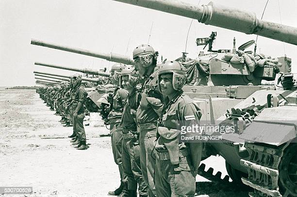 The crews of Israeli armoured vehicles during the waiting period before the beginning of the Six Day War