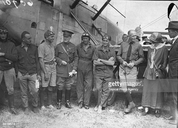 The crews of the Douglas DWC World Cruisers of the US Air Service at Croydon aerodrome during their first successful aerial circumnavigation of the...