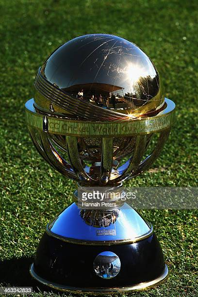 The Cricket World Cup Qualifying trophy is displayed during the ICC Cricket World Cup Qualifier 2014 Media Launch at University Oval on December 4...