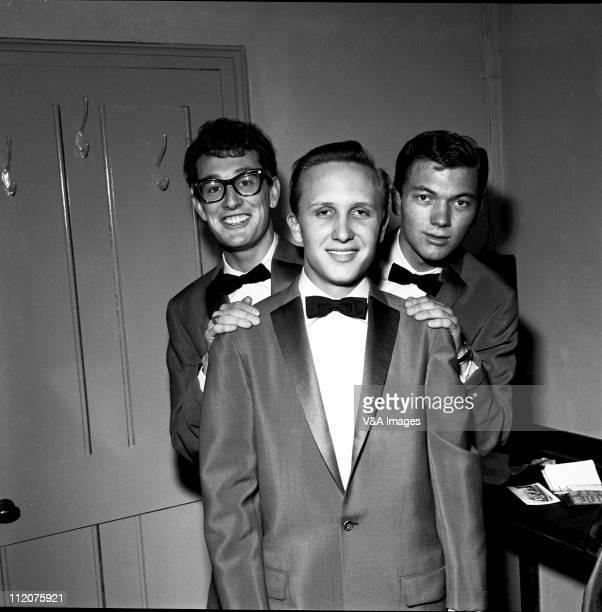 The Crickets Buddy Holly Joe B Mauldin Jerry Allison posed group shot backstage March 1958