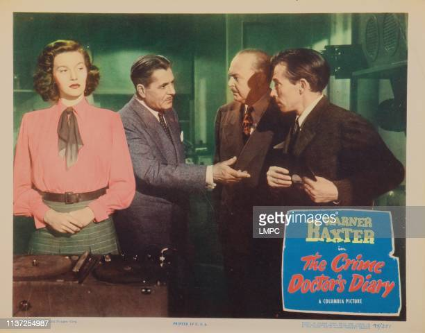 The Crime Doctor's Diary, lobbycard, from left: Lois Maxwell, Warner Baxter, Don Beddoe, Whit Bissell, 1949.