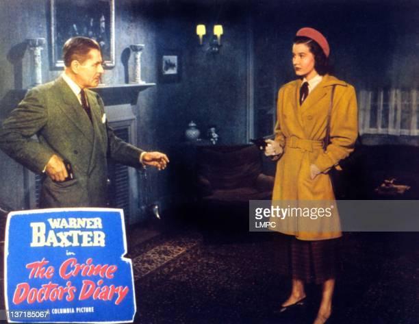 The Crime Doctor's Diary, lobbycard, Warner Baxter, Lois Maxwell, 1949.