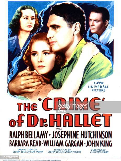 The Crime Of Doctor Hallet poster US poster front Josephine Hutchinson Ralph Bellamy back Barbara Reed William Gargan 1938