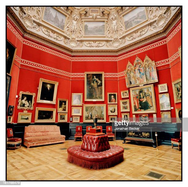 The crimson interiors of the MusEe Conde are photographed for Vanity Fair Magazine on June 11 2011 at Chateau de Chantilly in Chantilly France Built...