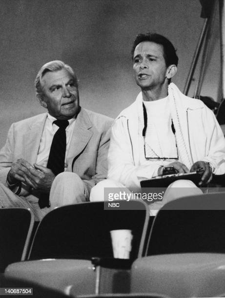MATLOCK 'The Critic' Episode 13 Pictured Andy Griffith as Benjamin Matlock Geoffrey Blake as Sam Spelvin Photo by Frank Carroll/NBCU Photo Bank