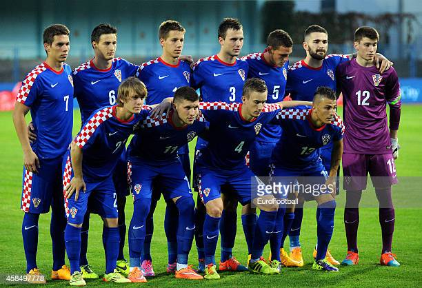 The Croatia players pose for a team photo before the UEFA U21 Championship Playoff Second Leg match between Croatia and England at the Stadion Hnk...