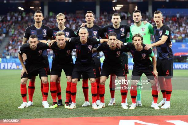 The Croatia players pose for a team photo prior to the 2018 FIFA World Cup Russia Round of 16 match between Croatia and Denmark at Nizhny Novgorod...