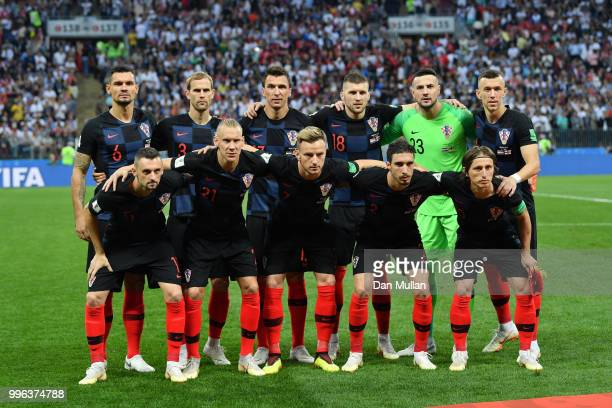 The Croatia players pose for a team photo prior to the 2018 FIFA World Cup Russia Semi Final match between England and Croatia at Luzhniki Stadium on...