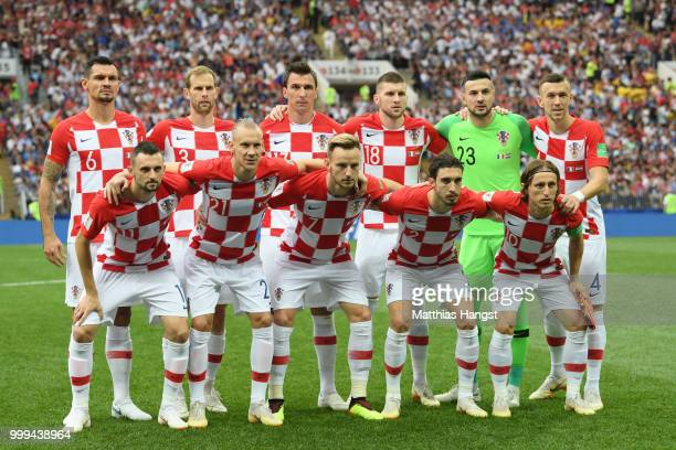 The Croatia players pose for a team photo prior to the 2018 FIFA World Cup Final between France and Croatia at Luzhniki Stadium on July 15 2018 in...