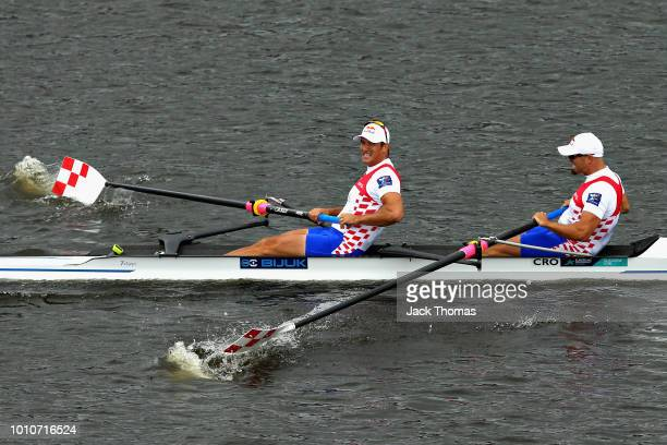 The Croatia team celebrate winning in the final of the Men's Pair during the rowing on Day Three of the European Championships Glasgow 2018 at...