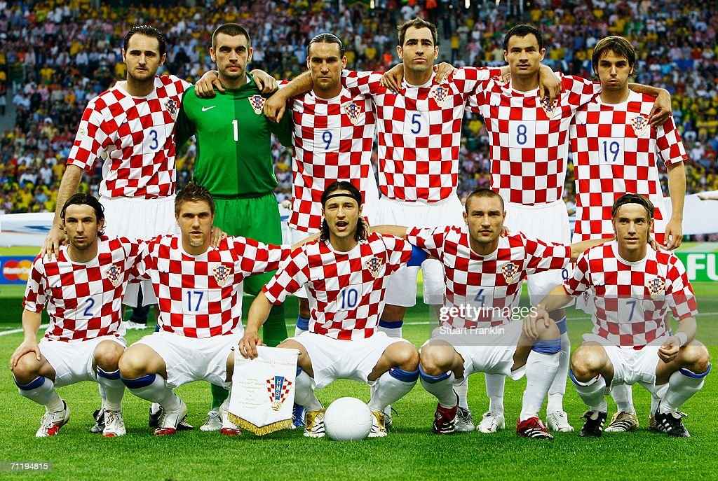 The Croatia team line up for a group photograph prior to the FIFA World Cup Germany 2006 Group F match between Brazil and Croatia played at the Olympic Stadium on June 13, 2006 in Berlin, Germany.