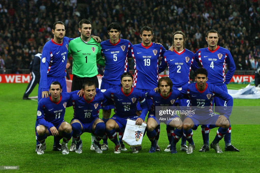 The Croatia Team line up prior to the Euro 2008 Group E qualifying match between England and Croatia at Wembley Stadium on November 21, 2007 in London, England.