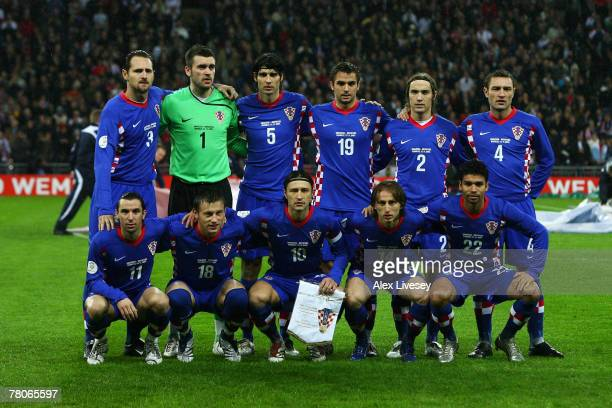 The Croatia Team line up prior to the Euro 2008 Group E qualifying match between England and Croatia at Wembley Stadium on November 21 2007 in London...