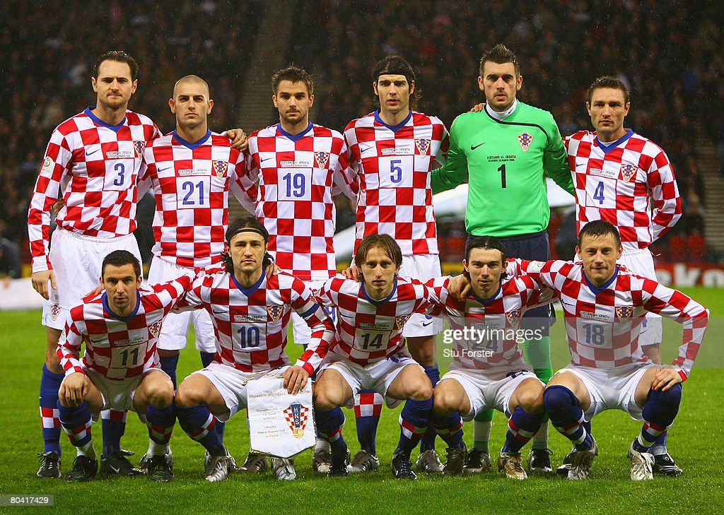 The Croatia team pose for the cameras prior to kickoff during the Tennent's International Challenge friendly match between Scotland and Croatia at Hampden Park on March 26, 2008 in Glasgow, Scotland.