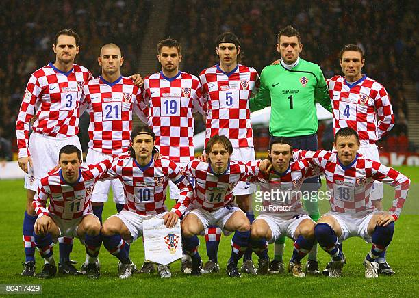 The Croatia team pose for the cameras prior to kickoff during the Tennent's International Challenge friendly match between Scotland and Croatia at...