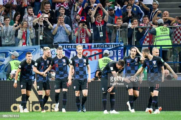 The Croatian players celebrate scoring during the FIFA World Cup Group D match between Argentina and Croatia at Nizhny Novogorod Stadium in Nizhny...