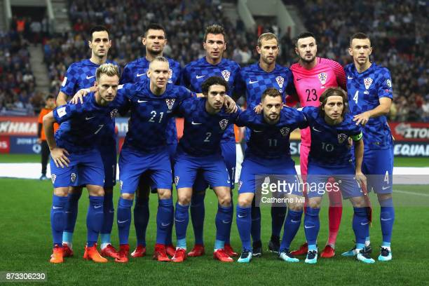 The Croatian team line up during the FIFA 2018 World Cup Qualifier PlayOff Second Leg between Greece and Croatia at Karaiskakis Stadium on November...