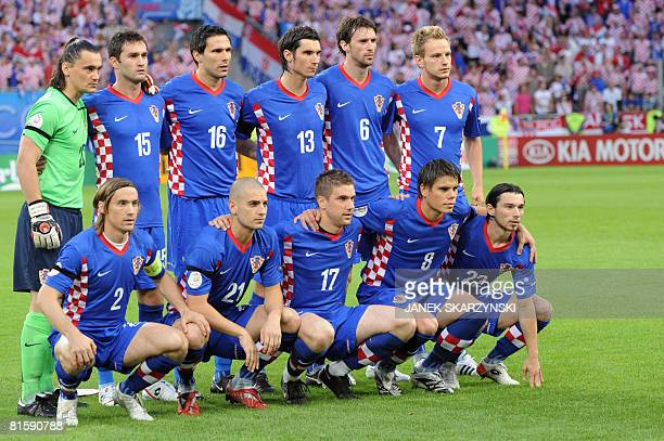 The Croatian team pose before the Euro 2008 Championships Group B football match Poland vs Croatia on June 16 2008 at Woerthersee Stadium in...