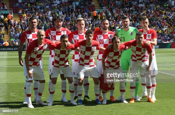 the Croatian team pose for a group photo before the friendly international football match between Brazil and Croatia at Anfield on June 3 2018 in...