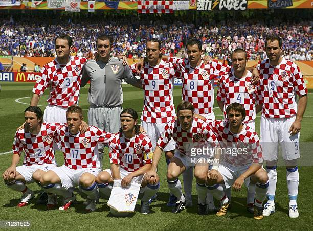 The Croatian team pose for the cameras prior to kickoff during the FIFA World Cup Germany 2006 Group F match between Japan and Croatia at the...