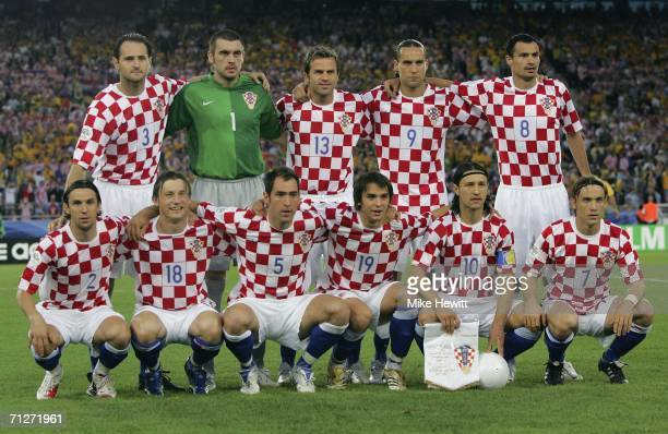 The Croatian team pose for the cameras prior to kickoff during the FIFA World Cup Germany 2006 Group F match between Croatia and Australia at the...