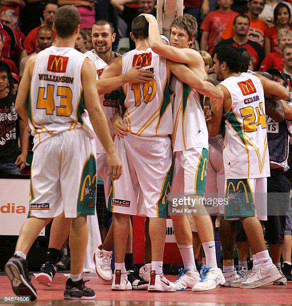 The Crocodiles celebrate winning the NBL quarter final match between the Perth Wildcats and the Townsville Crocodiles held at Challenge Stadium...