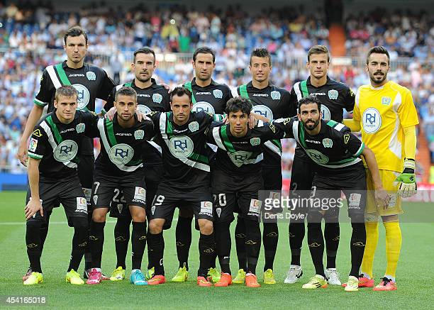 The Crodoba CF tem line up before the start of the La liga match between Real Madrid CF and Cordoba CF at Estadio Santiago Bernabeu on August 25 2014...