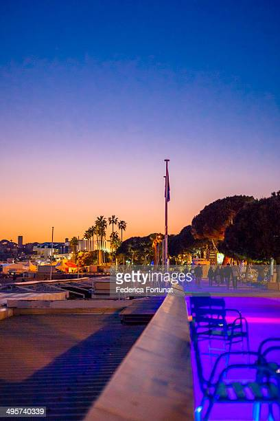 The Croisette in Cannes at sunset