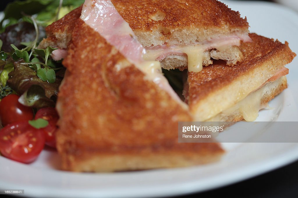 LEROY DIDIER CROQUE. The Croque Monsieur, a mix of rosemary ham, comte cheese on organic white bread : News Photo