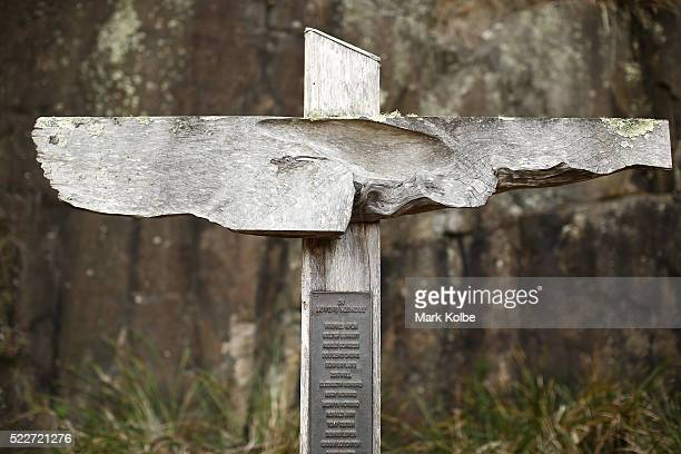 The cross bearing the names of those who lost their lives is seen in the Memorial Garden in the Port Arthur Historical Site on April 18 2016 in Port...