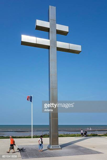The cross Croix de Lorraine in front of Juno Beach commemorates the return of General de Gaulle in France CourseullessurMer Normandy France