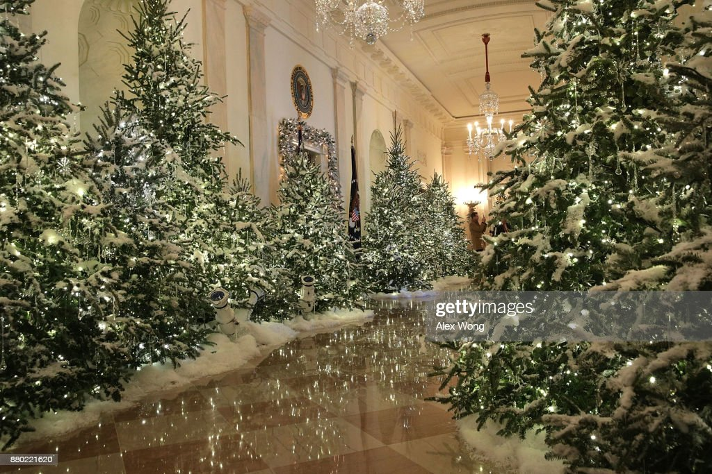 The Cross Hall at the White House during a press preview of the 2017 holiday decorations November 27, 2017 in Washington, DC. The theme of the White House holiday decorations this year is 'Time-Honored Traditions.'