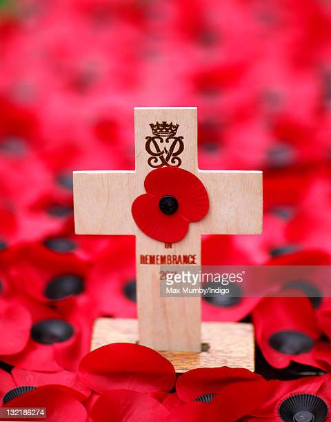 The cross of Remembrance bearing the cypher of Prince Philip Duke of Edinburgh which he placed during a visit to the Field of Remembrance at...