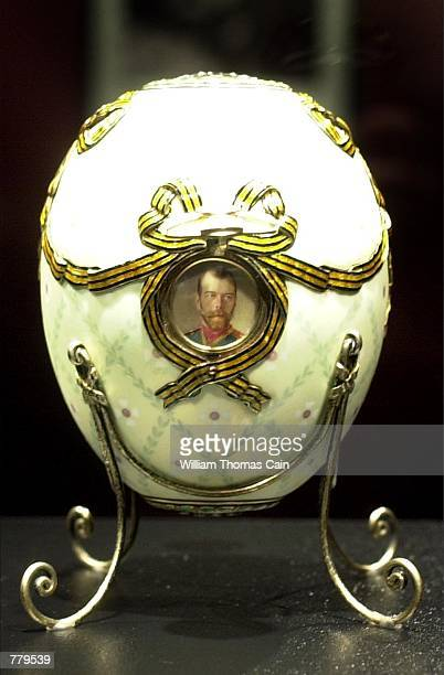 The cross of St. George Imperial Easter Egg, part of the Faberge Collection, sits on display at the First USA Riverfront Arts Center, September 14 in...