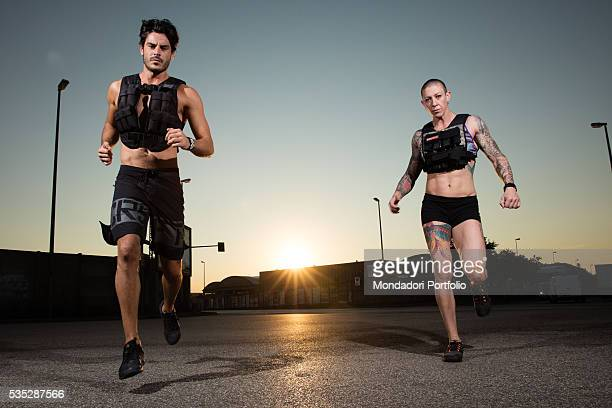 The crossfit instructors Andrea Casalino and Beatrice Franceschini working out Verona Italy 4th September 2015