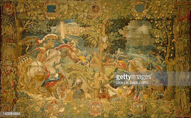 The Crossing of the Red Sea 16th century tapestry by Flemish weaver Nicolas or Jan Karcher based on a cartoon by Giulio Romano