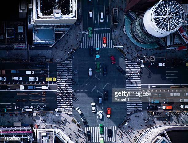 the crossing way of ginza in tokyo japan - overhead view of traffic on city street tokyo japan stock photos and pictures