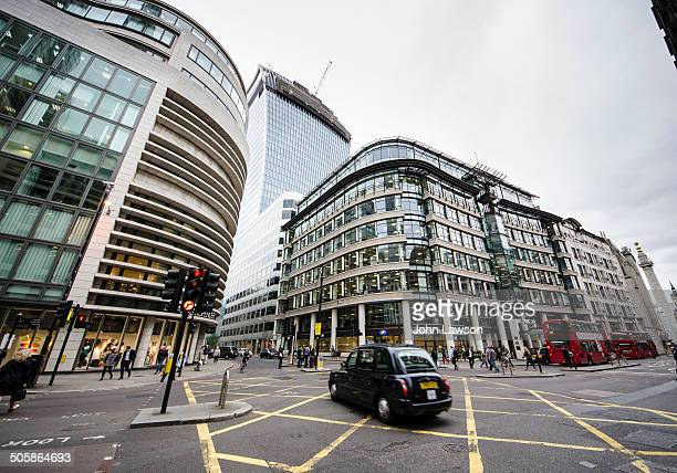 The crossroads at Gracechurch Street, Fenchurch Street and Lombard Street in the City of London, England, UK.