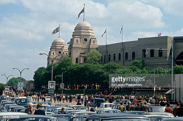 The crowd and carpark outside Wembley Stadium London on the occasion of the FA Cup Final between Arsenal and Liverpool on 8th May 1971 Arsenal won 21