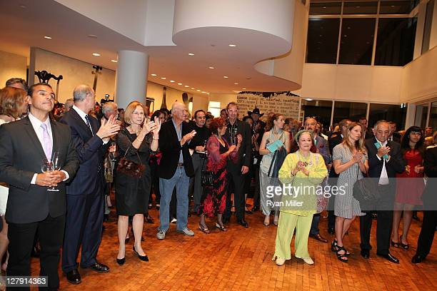 The crowd applaud during the Pacific Standard Time: Art in LA 1945-1980 opening event held at the Getty Center on October 2, 2011 in Los Angeles,...